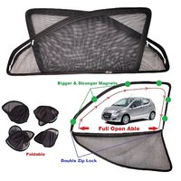 Car Craft Full Open Able Zipper Magnetic and Foldable Sunshade / Sun Shade / Curtain for Maruti Suzuki Celerio - Set of 4