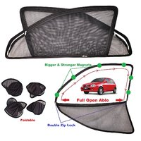 Car Craft Full Open Able Zipper Magnetic and Foldable Sunshade / Sun Shade / Curtain for Maruti Suzuki Zen Old Model - Set of 4