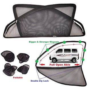 Car Craft Full Open Able Zipper Magnetic And Foldable Sunshade / Sun Shade / Curtain For Maruti Suzuki Eeco - Set Of 6