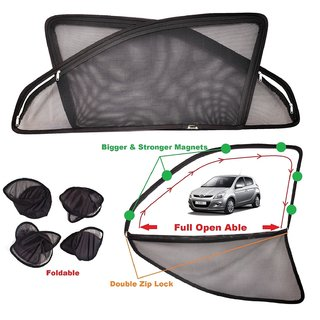 Car Craft Full Open Able Zipper Magnetic and Foldable Sunshade / Sun Shade / Curtain for Hyundai i20 - Set of 4