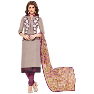 Khushi Trendz Chanderi Cotton Brown Se Stitched Salwar Suit