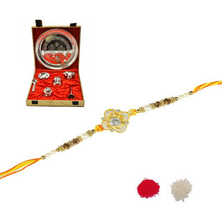 Artificial Stone With Pearl Rakhi Design By Shreeng