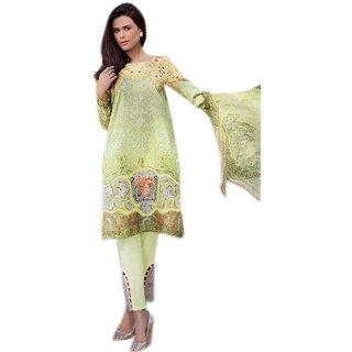 Khushi Trendz Pure Lawn Cotton Green Se Stitched Salwar Suit