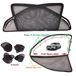 Car Craft Full Open Able Zipper Magnetic and Foldable Sunshade / Sun Shade / Curtain for Audi - Set of 4