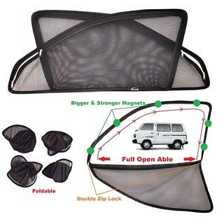Car Craft Full Open Able Zipper Magnetic And Foldable Sunshade / Sun Shade / Curtain For Maruti Suzuki Omni- Set Of 6