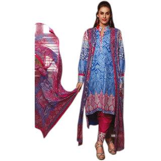 Khushi Trendz Original Lawn Blue  Semi Stitched Salwar Suit