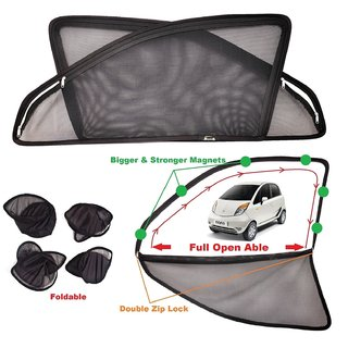 Car Craft Full Open Able Zipper Magnetic and Foldable Sunshade / Sun Shade / Curtain for Nano - Set of 4