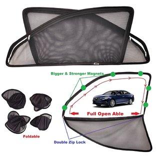 Car Craft Full Open Able Zipper Magnetic and Foldable Sunshade / Sun Shade / Curtain for Hyundai Sonata New (2015-2016) - Set of 4