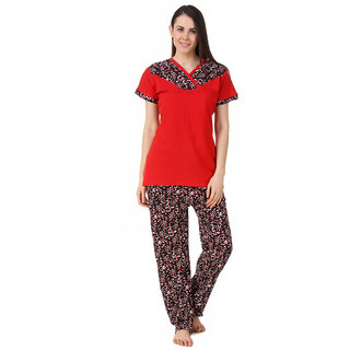 Fasense Women Sinker Cotton Nightwear Nightsuit Top  Pyjama Set DP191 A