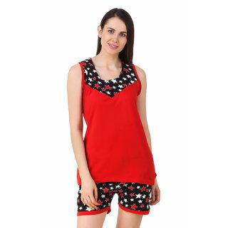 Fasense Women Sinker Cotton Nightwear Nightsuit Top  Shorts Set DP192 A