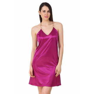 Fasense Women Satin Nightwear Sleepwear Short Nighty DP195 A