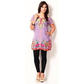 Buransh Light Purple Embroidered Cotton Kurti