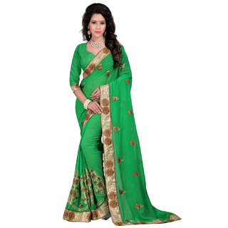 Bunny Sarees Magnificent Green Color Georgette Designer Saree