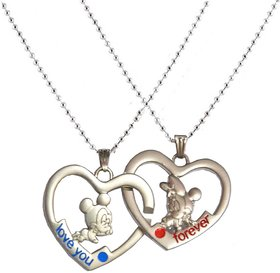 Men Style New Heart Couple Love You And forever  Brown  Stainless Steel Heart Pendent For Men And Boys