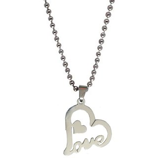 Men Style Love Heart  Silver  Leather Heart Pendent For Men And Boys