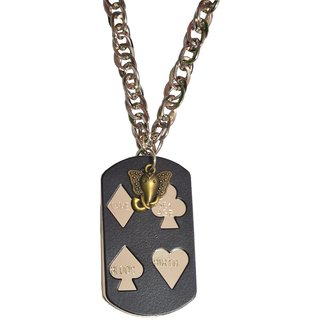 Men Style Ganpati With card  Black  Alloy Card Pendent For Men And Boys