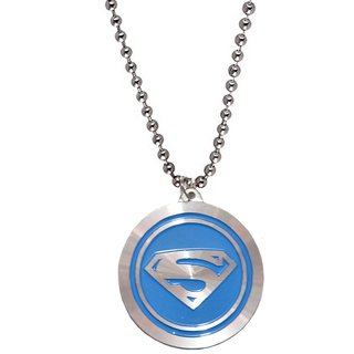 Men Style Superman inspired  Blue  Leather Circle Pendent For Men And Boys
