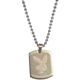 Men Style Play Boy Inspired  Silver  Alloy Square Pendent For Men And Boys