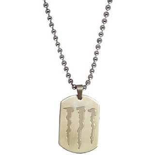 Men Style Monster symbol Inspired  Silver  Alloy Square Pendent For Men And Boys