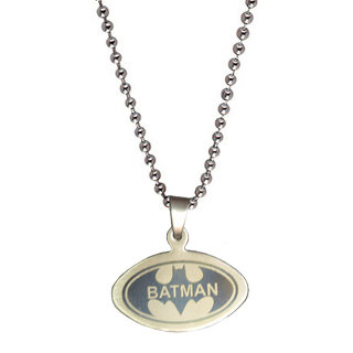 Men Style Batman Inspired  Silver  Stainless Steel Oval Pendent For Men And Boys