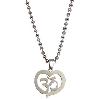 Men Style Heart Style Om  Silver  Stainless Steel Heart Pendent For Men And Boys