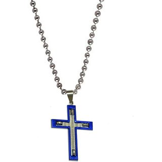 Men Style Best Selling Frame Jesus Cross  Blue And Silver  Stainless Steel Cross Pendent For Men And Women