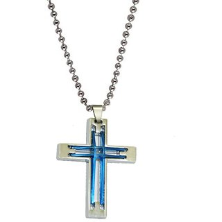 Men Style New Arrival Mens Jesus Cross Jewelry  Blue And Silver  Stainless Steel Cross Pendent For Men And Women