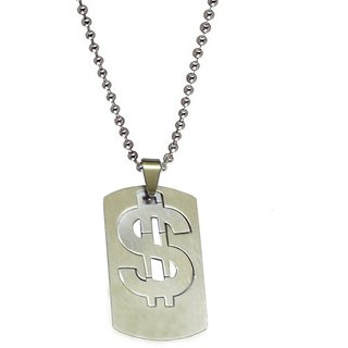 Men Style Doller Sign Plated Necklace  Silver  Stainless Steel Sqaure Pendent For Men And Women