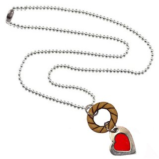 Men Style Ring  And Heart  Red Brown  Alloy Heart  Circle Pendent For Men And Women