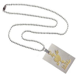 Men Style High Polished love Letter   Gold And Silver  Stainless Steel Heart And Square Pendent For Men And Women