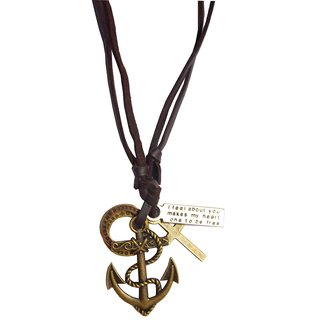 Men Style Cross AnchorAdjustable  Brown  Leather Anchor Pendent For Men And Boys