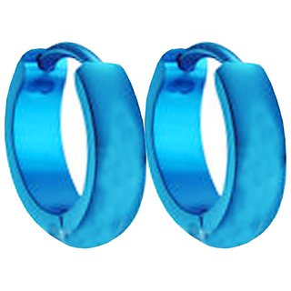 Men Style Best Quality Classic plain Korean Made   Blue   Stainless Steel Round Hoop Earring For Men And Boy