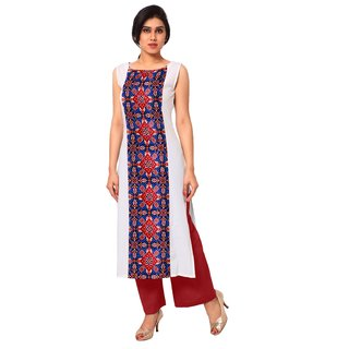 AHALYAA White Colored Sleeveless And Boat Neck Faux Crepe Kurti