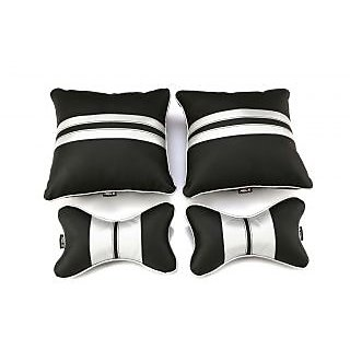 Able Sporty Kit Seat Cushion Neckrest Pillow Black and Silver For CHEVROLET AVEO Set of 4 Pcs