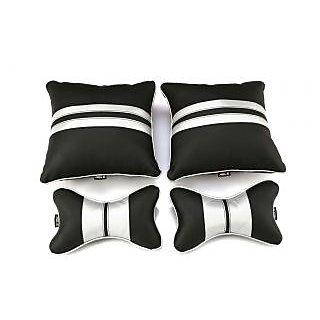 Able Sporty Kit Seat Cushion Neckrest Pillow Black and Silver For TATA NANO Set of 4 Pcs