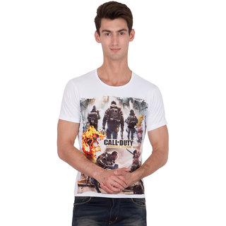 XSCAPE Mens White Printed Cotton T shirt-AWC0716XSP099