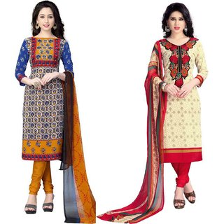 Riaan Trendz Combo of 2 Printed Crepe Salwar Suit Dress Material UnStitched