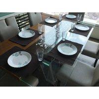 Lushomes Set of 6 Ribbed Dark Brown Cotton Table Mats