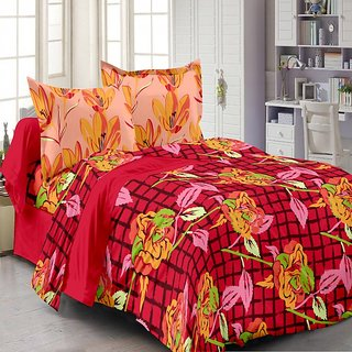 Welhouse Cotton Floral Red Double Bedsheet with 2 Contrast Pillow Covers(TC-129)