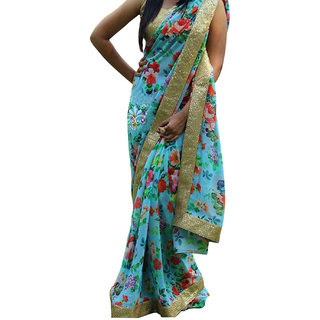 Self Designed Blue Georgette Printed Saree