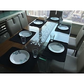 Lushomes Set of 6 Ribbed Black Cotton Table Mats