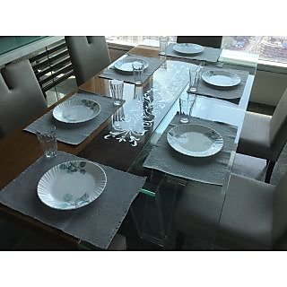 Lushomes Set of 6 Ribbed Grey Cotton Table Mats
