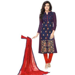 Khushi Trendz Chanderi Cotton Black Semi Stitched Salwar Suit