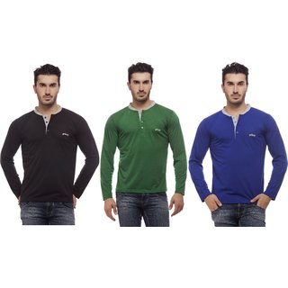 Grovey Henley Neck T-Shirts Combo Pack of 3 (Black, Green, Royal Blue)