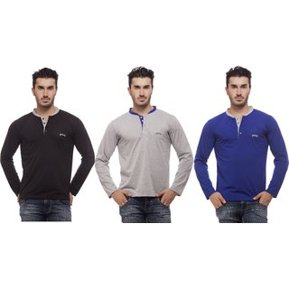 Grovey Henley Neck T-Shirts Combo Pack of 3 (Black, Grey, Royal Blue)