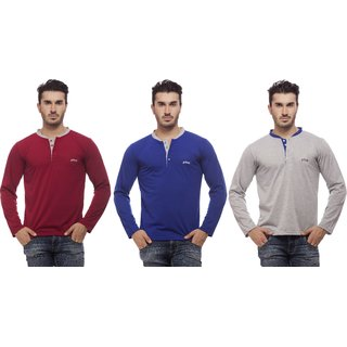 Grovey Henley Neck T-Shirts Combo Pack of 3 (Mahroon, Royal Blue, Grey)