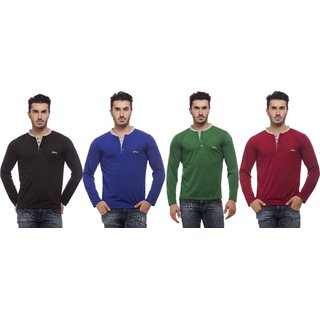 Grovey Henley Neck T-Shirts Combo Pack of 4 (Black, Royal Blue, Green, Mahroon)