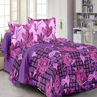 Welhouse Cotton Floral Purple Double Bedsheet with 2 Contrast Pillow Covers(TC-129)