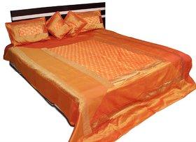 Stylish Elephant Brocade Bed Cover (Orange)