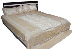 Stylish Elephant Brocade Bed Cover (Cream)